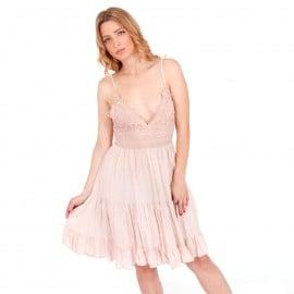 Ρόζ Mini Φόρεμα με Δαντέλα Κιπούρ και Άνοιγμα στην Πλάτη
