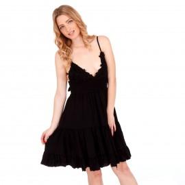 Μαύρο Mini Φόρεμα με Δαντέλα Κιπούρ και Άνοιγμα στην Πλάτη