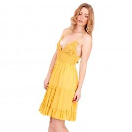 Κίτρινο Mini Φόρεμα με Δαντέλα Κιπούρ και Άνοιγμα στην Πλάτη