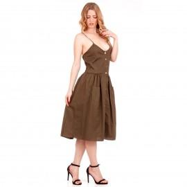 Χακί Midi Φόρεμα με Κουμπιά