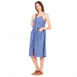 Μπλε Midi Φόρεμα με Κουμπιά