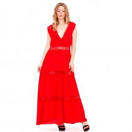 Κόκκινο Maxi Φόρεμα με Δαντέλα Κιπούρ