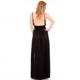 Μαύρο Maxi Σατέν Φόρεμα με Ανοιχτή Πλάτη και Σκίσιμο στο Πλάι