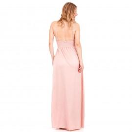 Ρόζ Maxi Σατέν Φόρεμα με Ανοιχτή Πλάτη και Σκίσιμο στο Πλάι