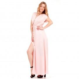 Ρόζ Maxi Σατέν Φόρεμα με Σκισίματα στο Πλάι