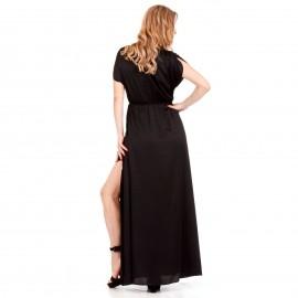 Μαύρο Maxi Σατέν Φόρεμα με Σκισίματα στο Πλάι