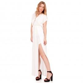 Λευκό Maxi Σατέν Φόρεμα με Σκισίματα στο Πλάι
