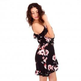 Μαύρο Mini Φόρεμα με Έξω τους Ώμους και Βολάν