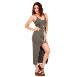 Χακί Maxi Φόρεμα με Κουμπιά και Άνοιγμα Μπροστά