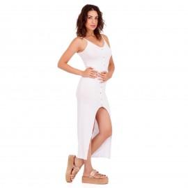 Λευκό Maxi Φόρεμα με Κουμπιά και Άνοιγμα Μπροστά