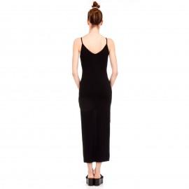 Μαύρο Maxi Φόρεμα με Κουμπιά και Άνοιγμα Μπροστά