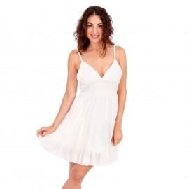 Λευκό Mini Φόρεμα με Δαντέλα Κιπούρ και Άνοιγμα στην Πλάτη