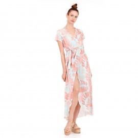 Φλοράλ Maxi Φόρεμα με Άνοιγμα Μπροστά