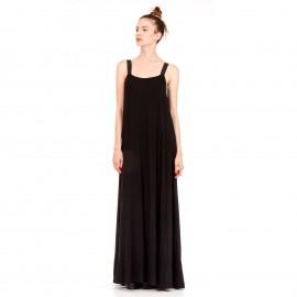 Μαύρο Maxi Φόρεμα με Μαύρο Ελαστικό Ραντάκι
