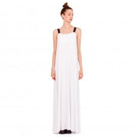Λευκό Maxi Φόρεμα με Μαύρο Ελαστικό Ραντάκι