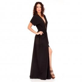 Μαύρο Maxi Σατέν Φόρεμα με Σκίσιμο και Βαθύ Άνοιγμα στο Στήθος