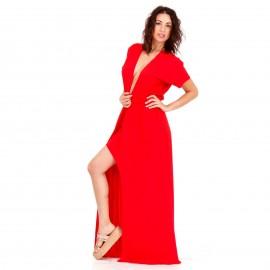 Κόκκινο Maxi Σατέν Φόρεμα με Σκίσιμο και Βαθύ Άνοιγμα στο Στήθος