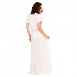 Λευκό Maxi Σατέν Φόρεμα με Σκίσιμο και Βαθύ Άνοιγμα στο Στήθος