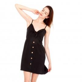 Μαύρο Λινό Mini Φόρεμα με Κουμπιά