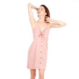 Ρόζ Λινό Mini Φόρεμα με Κουμπιά