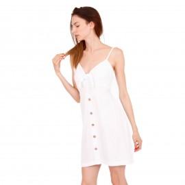 Λευκό Λινό Mini Φόρεμα με Κουμπιά
