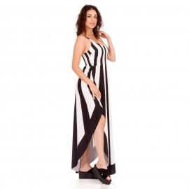 Ριγέ Maxi Ασύμμετρο Φόρεμα με Λευκές και Μαύρες Ρίγες