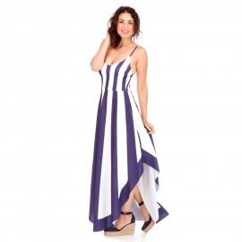 Ριγέ Maxi Ασύμμετρο Φόρεμα με Λευκές και Μπλε Ρίγες