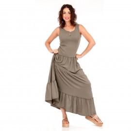 Χακί Maxi Μακό Φόρεμα