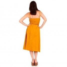 Κίτρινο Midi Φόρεμα με Κουμπιά