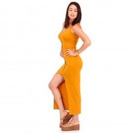 Κίτρινο Maxi Φόρεμα με Κουμπιά και Άνοιγμα Μπροστά