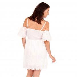 Λευκό Mini Φόρεμα με Δαντέλα Κιπούρ
