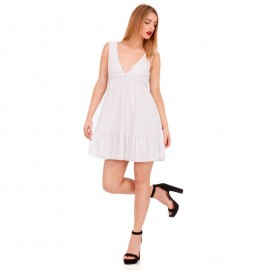Λευκό Midi Φόρεμα με Φραμπαλά