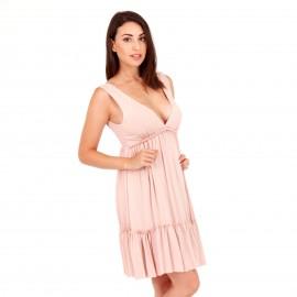 Ρόζ Midi Φόρεμα με Φραμπαλά