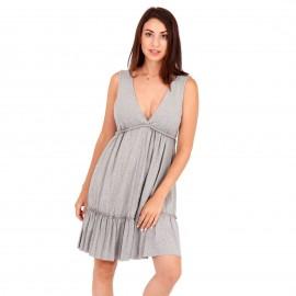 Γκρι Midi Φόρεμα με Φραμπαλά