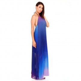 Μπλε Ρουά Maxi Πλισέ Strapless Φόρεμα