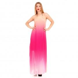 Ρόζ Maxi Πλισέ Strapless Φόρεμα