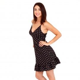 Μαύρο Πουά Αμάνικο Mini Φόρεμα