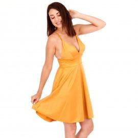 Κίτρινο Mini Φόρεμα με Χιαστί Πλάτη