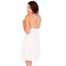 Λευκό Mini Φόρεμα με Χιαστί Πλάτη