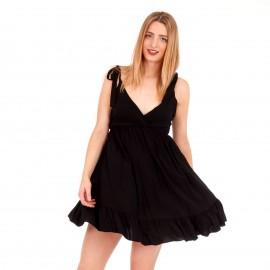 Μαύρο Κρουαζέ Mini Φόρεμα με Ανοιχτή Πλάτη