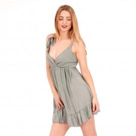 Γκρι Κρουαζέ Mini Φόρεμα με Ανοιχτή Πλάτη