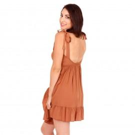 Καφέ Κρουαζέ Mini Φόρεμα με Ανοιχτή Πλάτη
