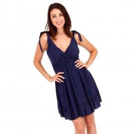 Μπλε Κρουαζέ Mini Φόρεμα με Ανοιχτή Πλάτη