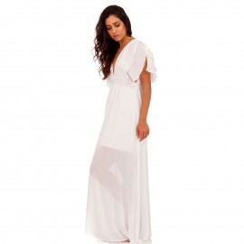 Λευκό Maxi Φόρεμα με Φραμπαλά στα Μανίκια