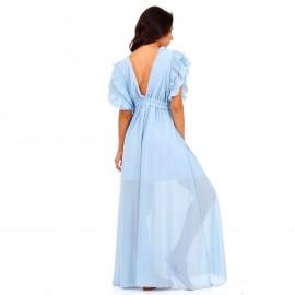 Σιέλ Maxi Φόρεμα με Φραμπαλά στα Μανίκια