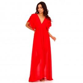 Κόκκινο Maxi Φόρεμα με Φραμπαλά στα Μανίκια