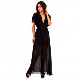 Μαύρο Maxi Φόρεμα με Φραμπαλά στα Μανίκια