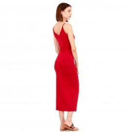 Μπορντό Maxi Φόρεμα με Κουμπιά και Άνοιγμα Μπροστά