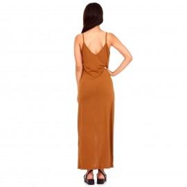 Καφέ Maxi Φόρεμα με Κουμπιά και Άνοιγμα Μπροστά