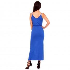 Μπλε Ρουά Maxi Φόρεμα με Κουμπιά και Άνοιγμα Μπροστά